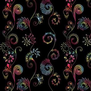Spiralmania--multicolor on black 2