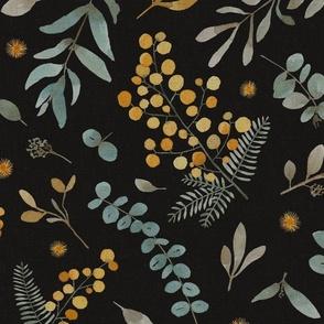 Australia native flowers sunshine wattle eucalyptus leaves black X-LARGE