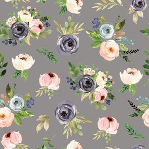 blush gray watercolor floral