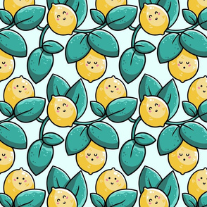 Kawaii Cute Lemons and Leaves in green and yellow