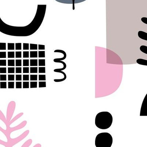 Abstract paper cut style minimal geometric shapes and leaves neutral black white pink spring summer JUMBO