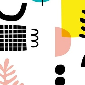 Abstract paper cut style minimal geometric shapes and leaves neutral black white pink yellow spring summer JUMBO