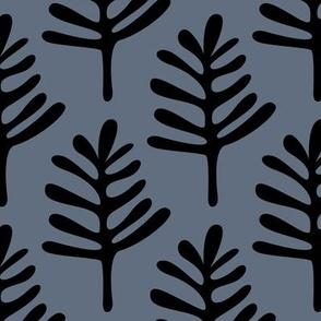 Minimal paper cut style little tree design organic garden leaves winter blue  JUMBO