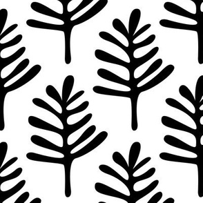 Minimal paper cut style little tree design organic garden leaves winter black and white monochrome JUMBO