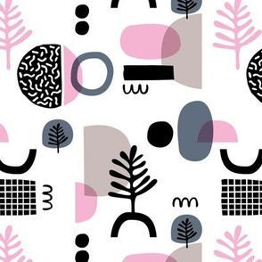 Abstract paper cut style minimal geometric shapes and leaves neutral black white pink spring summer