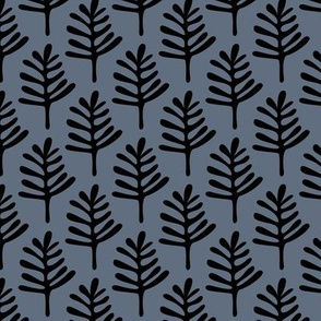 Minimal paper cut style little tree design organic garden leaves winter blue