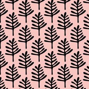 Minimal paper cut style little tree design organic garden leaves fall peach pink