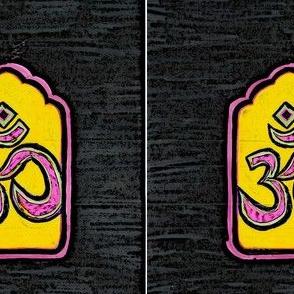 Om Yellow Repeat Textile Print