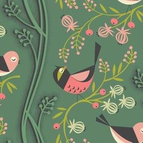 Birds and berries / sea green