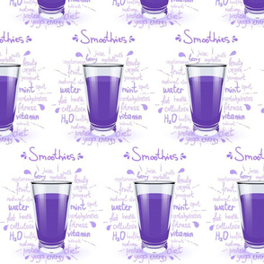Fitness Smoothies Purple and Healthy Words on WHite