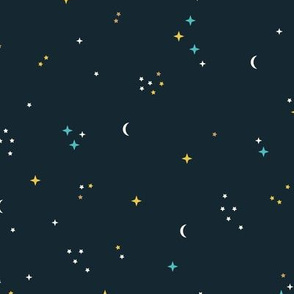 Little stars and constellation universe colorful gender neutral galaxy pattern blue ochre