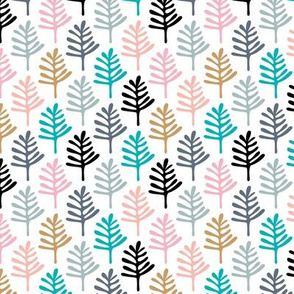 Minimal paper cut style little tree design organic garden leaves winter black and white pink ochre blue SMALL