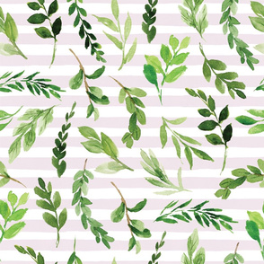 greenery on pink stripe