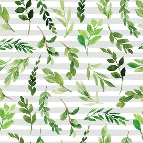 greenery on gray stripe