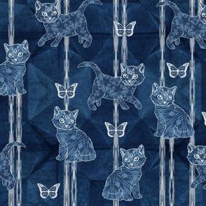Shibori cats and butterflies