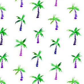 Palms in green and purple || watercolor beach and summer design