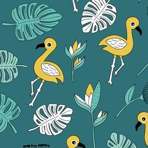Flamingo island beach garden birds of paradise boho monstera leaves summer green gender neutral blue ochre