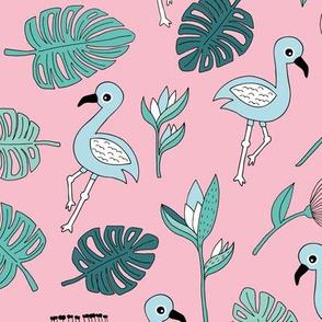 Flamingo island beach garden birds of paradise boho monstera leaves summer green girls blue pink