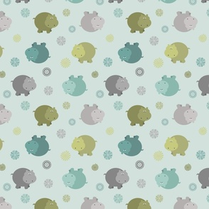 Hippos in Blue, Green, Gray