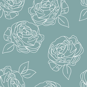 "Minimalist roses on baby blue 18"""