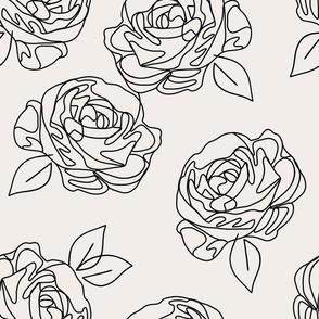 """Minimalist roses on eggshell 18"""""""