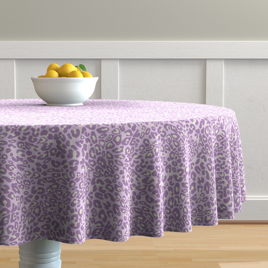 Malay Round Tablecloth featuring lilac leopard by cinneworthington