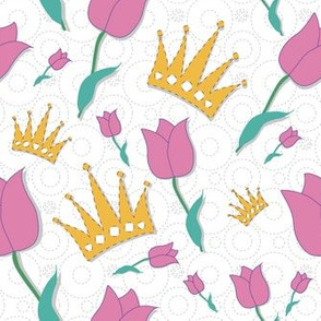 Pink tulips and crowns