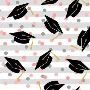 Tossed Graduation Caps with Rose Confetti