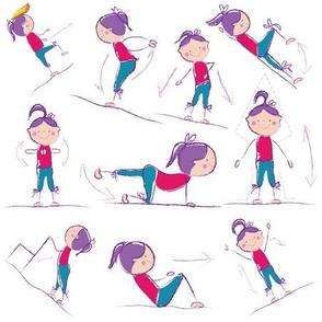 Fitness Exercises on White