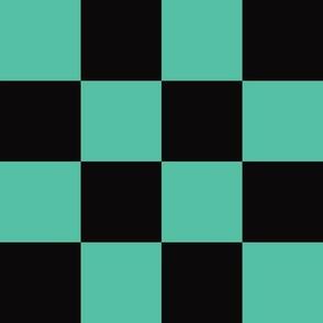 Demon-Slaying Tanjiro  Teal Green Black Square Ichimatsu Checkered Plaid