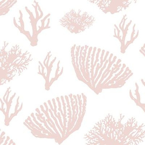 Nautical Coral Blush Pink White retro