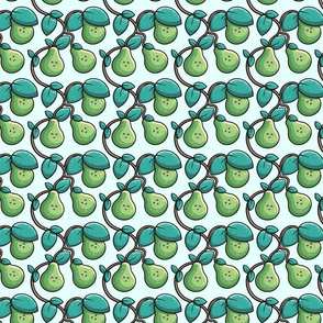 Kawaii Cute Pear Tree And Leaves In Green