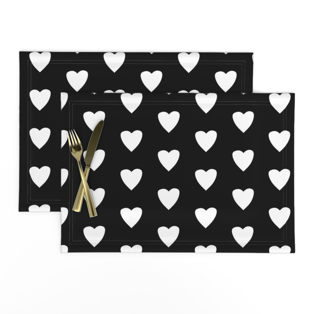 Lamona Cloth Placemats featuring Simple Heart // White  on Black by theartwerks