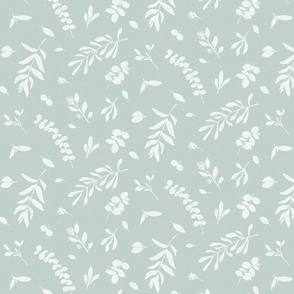 Eucalyptus leaves teal green beige neutral watercolor