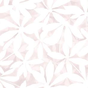 Joy - large white flowers light gray pink watercolor