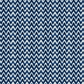 Shibori Chevron hand-dyed indigo blue white - small