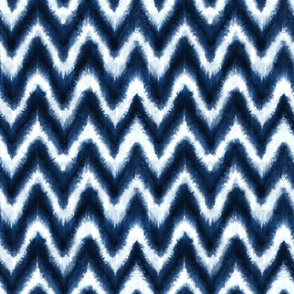 Shibori Chevron hand-dyed indigo blue white - large