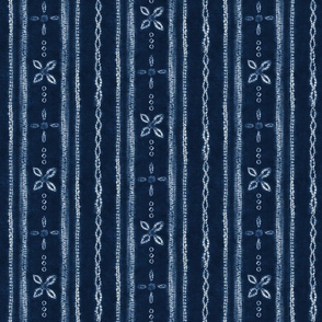Indigo Shibori Flowers and stripes - SMALL