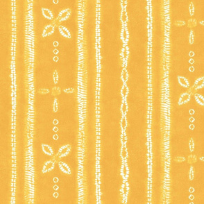 Shibori tie dye yellow white floral stripes