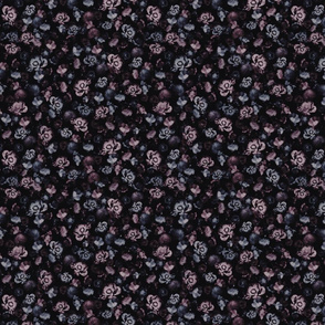 Moody Floral on black purple blue roses peonies - small scale