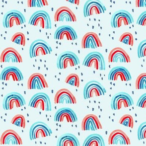 fourth of july rainbows on pale blue/grey