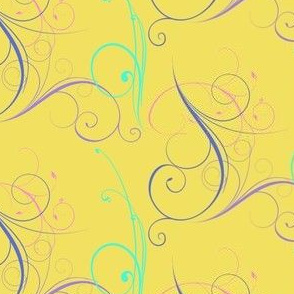 Bright Yellow with Colorful Swirls