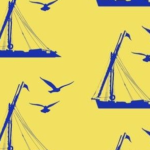 Blue Boat and Birds on Yellow