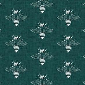 Bees - Green - Linen - 1.5 inch