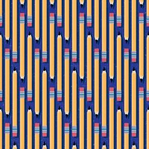 School Pencils on Blue by ArtfulFreddy