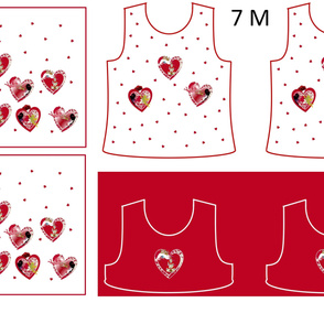 Size 7-RED HEARTS  DRESS & TANK