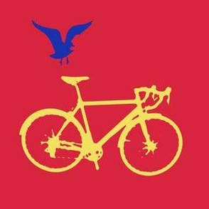 Bicycle and Bird on Red