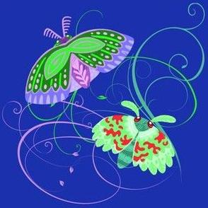 Green Moths on Dark Blue