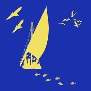 Yellow Sailboat on Navy Blue