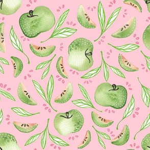 granny smith apples in pink